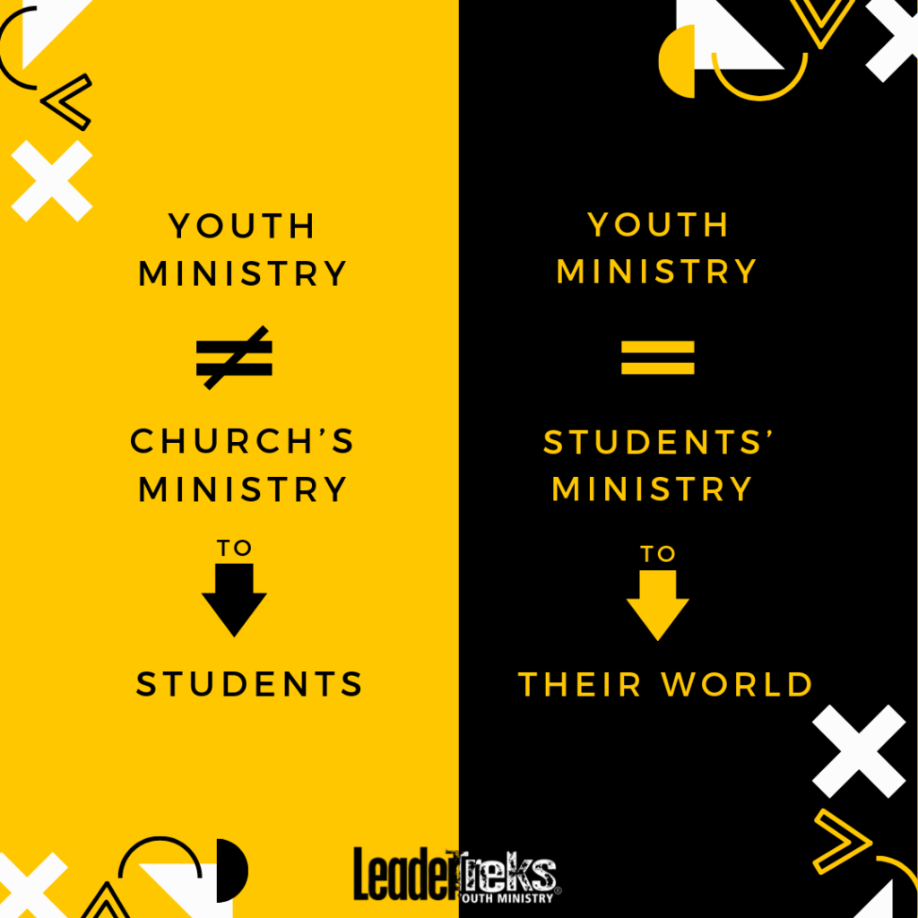 youth ministry is not the church's ministry to students, youth ministry is students' ministry to their world